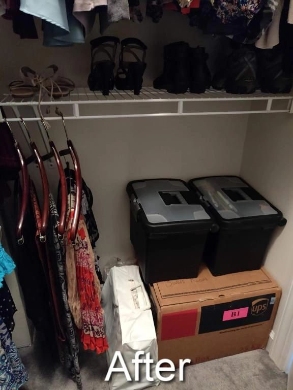 cluttered master closet made functional again