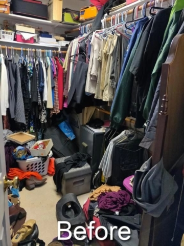 decluttered and peaceful master closet